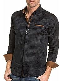 BLZ jeans - Chemise chic homme noir à pois