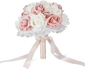 ausing Bride Holding Flower Bouquet Romantic Simulation Rose Bouquet for Wedding