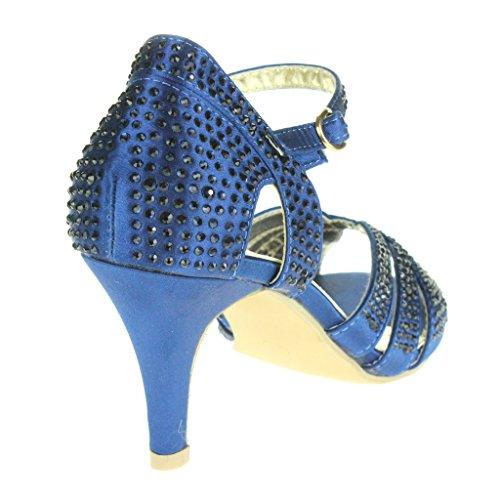 Frau Damen Fesselriemen High Heel Abendliche Feier Braut Hochzeit Prom Sandals Schuhe Größe Navy Blau