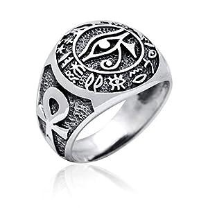 Ägypten Auge des Horus Horusauge Ankh Hieroglyphen Ring 925er Sterling Silber