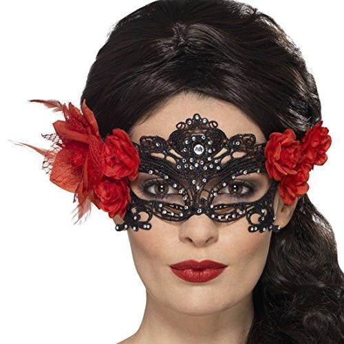 Venezianische Augenmaske mit Rosen Dia de los Muertos Maske Tag der Toten Maske La Catrina (Masken Der Tag Toten)