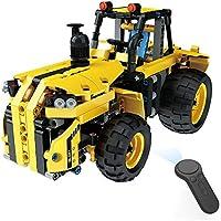 THMJIE Montado clásico de popularidad Bloques eléctrico del Tractor Modelo de Juguete Inteligente 2.4G Cuatro vías de Control Remoto inalámbrico de Camiones Rompecabezas de Bricolaje Resistencia a la