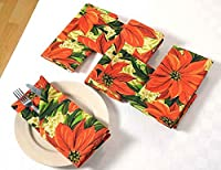 Patterned Cotton Dinner Napkins - 20' x 20' - Set of 6 Premium Table Linens for the Dining Room - Red, Green and Gold Poinsettia