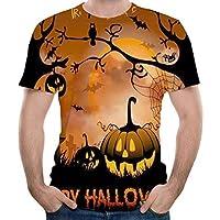 Feng Calabaza de Halloween 3D Print Crew Neck Short Sleeve T - Shirt Verano Hombres Turtleneck Top,M