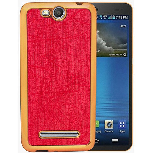 Casotec Electroplated Edge Chrome TPU Leather Back Case Cover for Micromax Canvas Juice 3 Q392 - Red  available at amazon for Rs.149