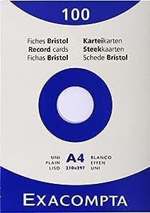 Exacompta 13306E Etui 100 Fiches Bristol Blanc 210/297 uni