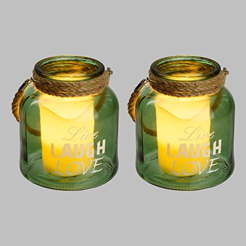 Luminal Park - Set 2 Tarros de cristal con Vela LED, Live-Laugh-Love, Ø 14 x h 16 cm, para Decoración de interior y Fiestas de jardín
