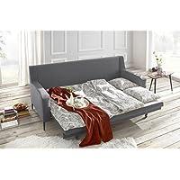 Bobochic Bergen Canapé de 3 Places Convertible Tissu Gris Clair 222 x 92 x 90 cm