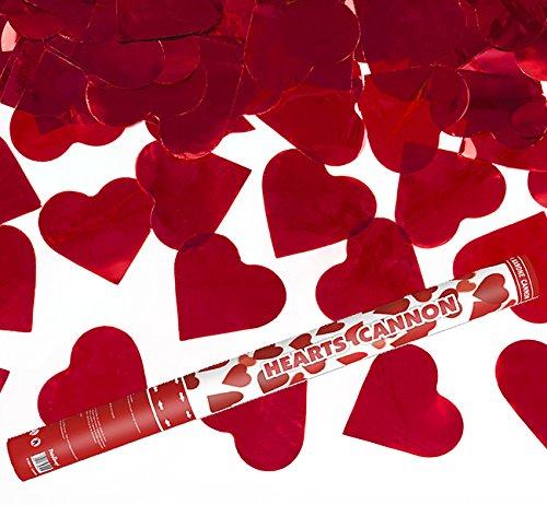 2 Stück - XL 60 cm - Herzregen mit roten Folien Herzen - Kleenes Traumhandel® - Konfetti Kanone Shooter Hochzeit Verlobung Konfettibome