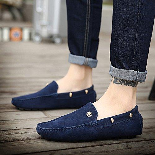 ICEGREY Herren Mokassin mit Schädel Niet Casual Wildleder Suede Slipper Fahren Schuhe Halbschuhe Blau