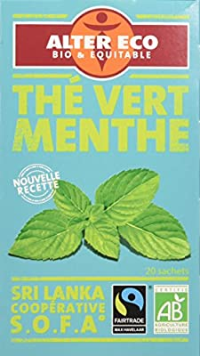 Alter Eco Thé Vert Menthe Bio et Équitable 20 Infusettes