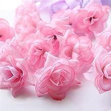 50x Cabezas de Flores Rosa Artificial Broche Triángulo Seda Granel Decoración Boda Color Rosa Luz