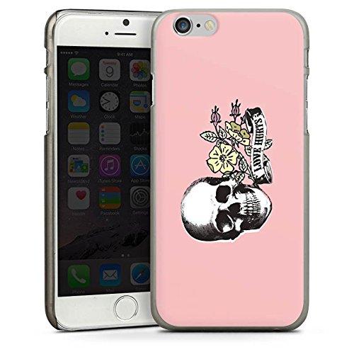 Apple iPhone 4 Housse Étui Silicone Coque Protection Crâne L'amour fait mal Fleur CasDur anthracite clair