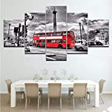 Wiwhy Hd Impreso Moderno Arte De La Pared Marco Fotos De La Lona 5 Piezas Londres Street Scene Red Bus Reino Unido Ciudad Edificios Vintage Pintura Posters,40X60/80/100Cm
