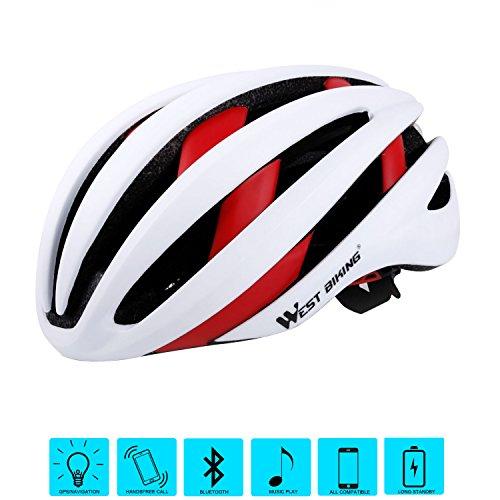 West Radfahren Bike Helm für Erwachsene Frauen Herren, Bluetooth Fahrrad Sicherheit Helm mit Rücklicht, Kinder Herren damen, weiß / rot (Helm Fahrrad Bell Mädchen Für)