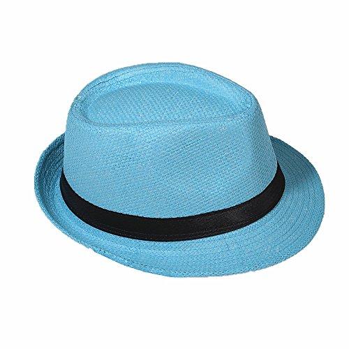Strohhut Panama Fedora Trilby Gangster Hut Sonnenhut mit Stoffband Farbe:-Himmelblau (Strohhut) Gr:-56