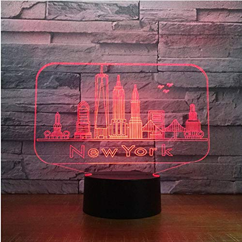 Lixiaoyuzz 3D Nachtlampe New York City Building Night Light Colorful Led Atmosphere Bedroom Table Lamp Lovely 7 Color Change Usb Led Night Light
