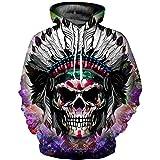 Sweatshirt Herren Damen,SANFASHION Frauen Männer Kapuzenpullover Skelett 3D Print Streetwear Langarm Hoodie Pullover Top