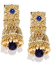 PANASH Traditional Blue Gold-Plated Stone-Studded Antique Jhumka/Earrings For Girls And Women
