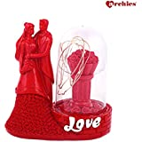 Archies Polyresin Love Couple Figurine | Decorative Lighting Showpiece | | archies/love/lighting gifts | couple showpiece | showpiece for couple | Gift (Red, H - 14.6 Cm)