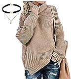 Wenyujh' Damen Strickpullover Sweater Sweatshirt Oversize Hohe Kragen Pullover Strickpulli Locker Asymmetrisch Herbst Frühling mit Choker