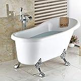 WHFDRHSLT Küchenarmatur Classic Floor Mount Wasserfall Auslauf Bright Chrome Badewanne Wasserhahn Messing Badewanne Messing