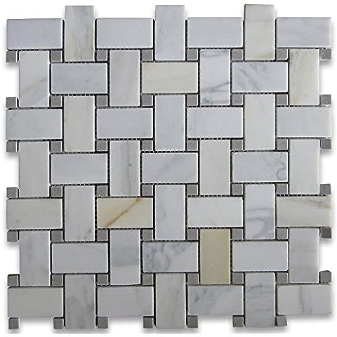 Calacatta Oro Italiano Calcutta marmo Basketweave Mosaico Grigio Pois 1x