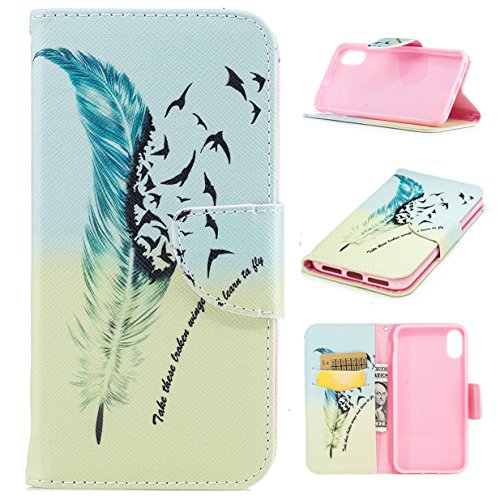 iPhone 8 Hülle iPhone 8 Case WYSTORE Bunte Muster PU Leder Bookstyle HandyHülle Tasche Flip Wallet Case Anti-Scratch Shell Cash Pouch ID Card Slot Magnetverschluss Etui Soft Silikon Back Cover Folio H A09