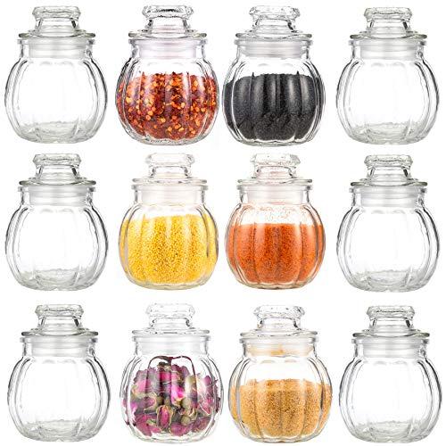 12 Gewürzgläser Gewürzdosen Glas 80ml | Luftdichte Vorratsgläser für Kräuter und Gewürze