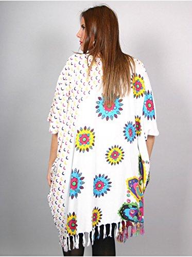 Vêtement Femme Grande Taille Tunique longue motif floral blanche Blanc