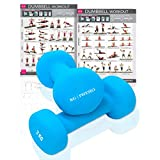 Premium quality dumbells for women and men, sold as a set of 2 (FREE BONUS A3 WORKOUT POSTER) *Anti-Roll* design ideal for home weights workout (Light Blue (2) x 2 Kg)