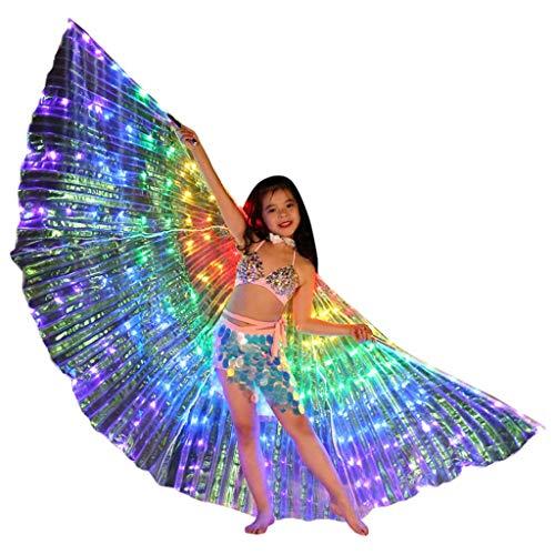ZHANSANFM Farb LED Isis Flügel Tanz Kinder Schmetterling Performance Kleidung Karneval Halloween Mit Teleskopsticks fur Mädchen spaß Darstellende Künste Weihnachten Cosplay Party Mehrfarbig