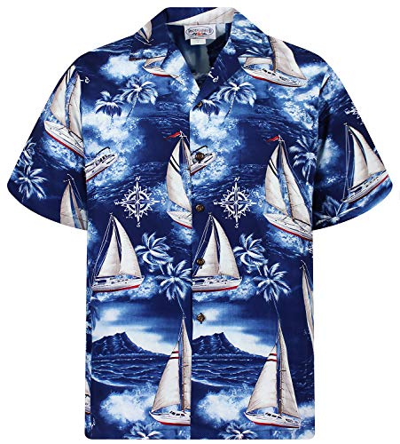 Pacific Legend Original Hawaiihemd, Kurzarm, Yachten, Blau, XL