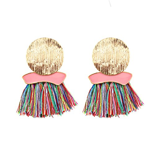 Hirolan Bohemia Quasten Ohrringe, Paar modische Quasten große Ohrringe geometrische unregelmäßige Runde Quasten Fransen Dangling Gewinde Ohr Decor für Mädchen Frau (Mehrfarbig)