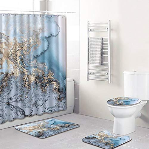 nst-Stil Duschvorhänge Badematten Set 4tlg, Badgarnitur Badezimmer Matte Set Dusch Bade Matte Vorleger Teppich für Schwimmbad Toilet ()