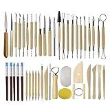 YXMxxm Ceramic Clay Tools - Juego de Herramientas de alfarería para Principiantes y niños, para artesanías Profesionales, Madera y Acero, 45 u.