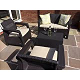 Keter Corfu Brown Rattan Garden Furniture Set Sofa Two Arm Chairs And Cushion Storage Box That Doubles As A Table