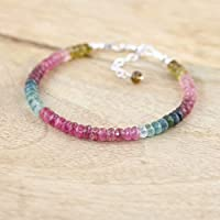 Watermelon Tourmaline Beaded Stacking Bracelet. Silver Plated. Pink, Blue & Green Multi Tourmaline Jewelry. Jewellery 4 to 4.5mm 7 Inch Strand.