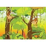 Vlies Fototapete PREMIUM PLUS Wand Foto Tapete Wand Bild Vliestapete - JUNGLE ANIMALS MONKEYS - Kinderzimmer Kindertapete Comic Affen Dschungel Äffchen - no. 094, Größe:400x280cm Vlies