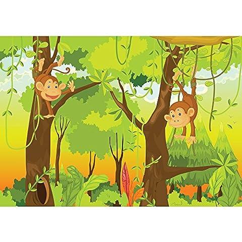 Vlies Fototapete PREMIUM PLUS Wand Foto Tapete Wand Bild Vliestapete - JUNGLE ANIMALS MONKEYS - Kinderzimmer Kindertapete Comic Affen Dschungel Äffchen - no. 094, Größe:300x210cm Vlies
