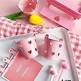Fablcrew Portamatite,porta penna 6 * 5.5cm,mini secchio da scrivania,cestino del desktop,barilotto di stoccaggio cosmetico,rosa