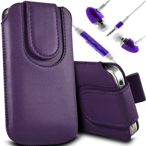 Brun/Brown - ZTE Kis 3 Max , ZTE Blade G Lux Housse et étui de protection en cuir PU de qualité supérieure à cordon avec fermeture par bouton magnétique et stylet tactile pour par Gadget Giant® Pourpre/Purple & Ear Phone