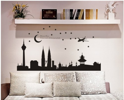 topro-petronas-towers-night-view-moon-and-stars-wall-art-stickers-decal-for