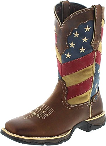 FB Fashion Boots Durango Boots Lady Rebel DRD0197 Brown Patriotic Flag/Damen Westernreitstiefel Braun/Westernstiefel/Damenstiefel, Groesse:42 (10 US) (Rebel Leder Flag)