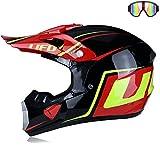 JohnnyLuLu Motocross-Integralhelm, Dot-zertifizierter Offroad-Motorrad-Dirtbike-Quad- / ATV- / BMX-Enduro-Sporthelm für Erwachsene,B,XL -