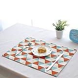 FiveRen Platzset/ Tischsets, Rechteck Baumwolle und Leinen Stoff Platz Matte, doppelseitig bedruckt Tägliche Basic Placemats 40x 30cm (8er-Set, Ammer)