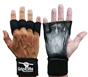GripElite | Gants Crossfit - Musculation avec protection poignet, paume et doigts | Anti-glisse et anti-transpiration | Protection des mains optimales | Gants fitness Homme/Femme | Nouvelle version (S)