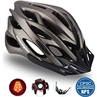 Shinmax Bicycle Helmet with Safety LED Light,CE Certified Adjustable Specialized Mountain & Road Cycle Helmet for Men Women Super Light Bike Helmet Adult Bike Helmet Backpack with Detachable Visor