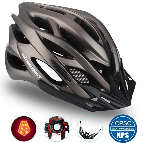 Shinmax Casque de vélo avec Lampe de Sécurité Protection, certifié CE, Route et VTT Spécialisé Eclairage Hommes Adultes intégralement avec visière Casque de vélo pour Ski et Snowboard