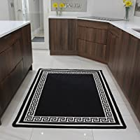 Affordable Black Mottled Machine Washable Slip Resistant Mat Luna - 8 sizes available - Disponible en 8 tamaños